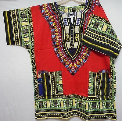 Mens Dashiki Shirt African Top Hippie Vintage Red Tribal Women Blouse One Size