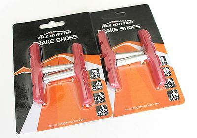 Alligator Bike Bicycle Cantilever Canti shoes pads Red Deore, Acera,2 pair