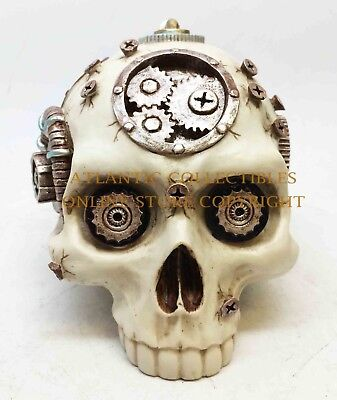Crafted Steampunk Skeleton Head Skull Statue Figurine Resin Home Decor Resin