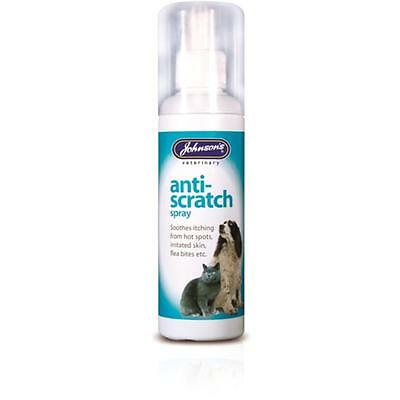 Johnsons ANTI SCRATCH SPRAY Soothing Itch Skin Bite Dog Cat Pet Treatment 100ml