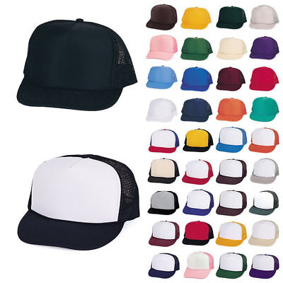 50 Plain Two Tone Summer Foam Mesh Trucker Hats Caps Wholesale Bulk Lot