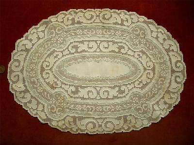 REFINED LG HANDMADE Antique Vtg APPENZELL EMBROIDERY LACE CENTERPIECE DOILY