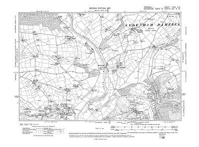 Old map of Latchley, Luckett 1907 - Cornwall, repro Corn-23-SE