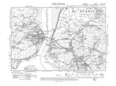 Old map of Saltash (Cor), St Budeaux (Dev) 1908 - Cornwall, repro Corn-46-NW