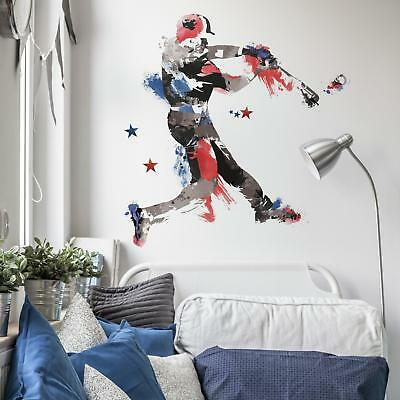New Giant MEN'S BASEBALL WALL DECALS Sports Bedroom Stickers Boys Room Decor