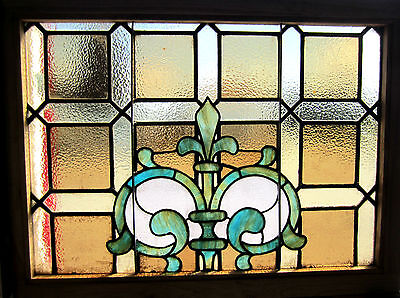 ~ Antique American Stained Glass Window ~ Fleur De Lis ~ Architectural Salvage ~