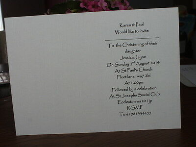 25 Inserts For Handmade Christening Invitations (Personalised)