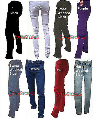 "RELCO SKINNY STRETCH JEANS  IN 8 COLOURS RETRO VINTAGE  and  Sizes 28"" - 40"""