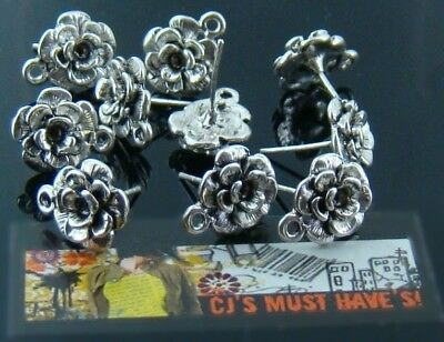 12 Antique Silver Rose Flower Stud Post Earrings Findings  Top Quality Jewellery