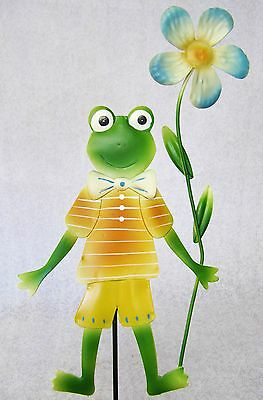 Whimsical Colorful 3D Metal Garden Stake ~ Orange Green Frog With Blue Flower
