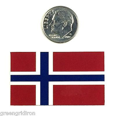 (LOT OF 2) Chrome Norway Flag American Football Helmet Decal / Sticker