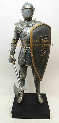 """Standing Armored Medieval Knight With Axe and Shield Premium Decor Statue 13""""H"""