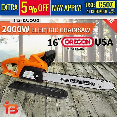 """NEW Top Garden 2000W Electric Chainsaw e-Start 16"""" OREGON Bar Chain Saw Pruning"""