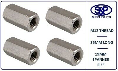 M12 (12MM - 12mm) A2 STAINLESS STEEL STUDDING CONNECTOR DEEP HEX NUT 36MM LONG
