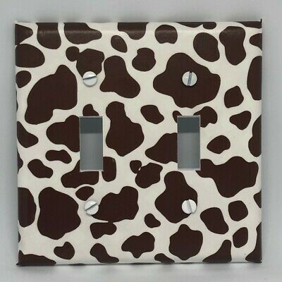 Cow Print Light Switch Outlet Cover Plates Black White Country Dairy Farm Moo