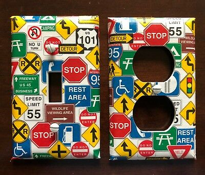 Road Signs Light Switch Cover Plates Garage Truckers Man Cave Highway Signs