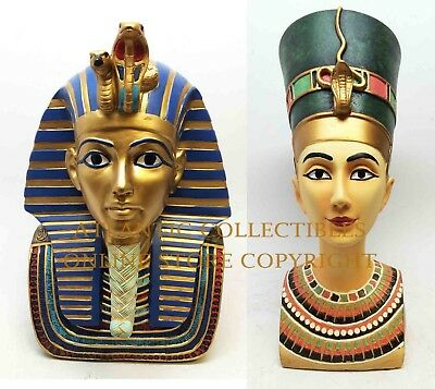 Large Egyptian Pharaoh King Tut with Queen Nefertiti Royal Bust Set Figurine