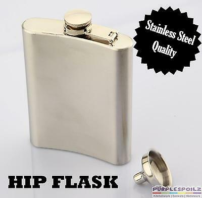 HIP FLASK - Stainless Steel Pocket Liquor Hipflask Gift Case Alcohol Screw Cap