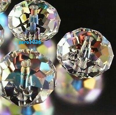 70-72pcs 6X8MM Austrian crystal Clear +AB Crystal Faceted Gems Loose Beads AAA