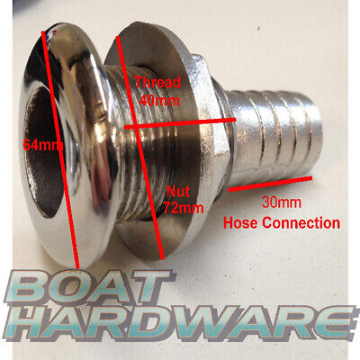 """Boat Skin Fitting 316 SS 1-1/2"""" hose connection through hull outlet for Toilet"""