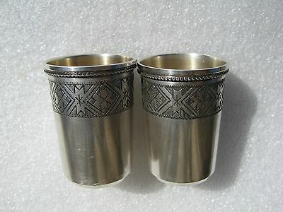 Vintage Russian Estonian Silver 875 Beaker Cups with Ethnic Ornament Set 47,9 gr