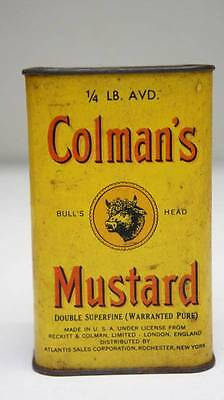 Vintage COLMAN'S MUSTARD Tin Container Yellow Bull's Head King George VI London