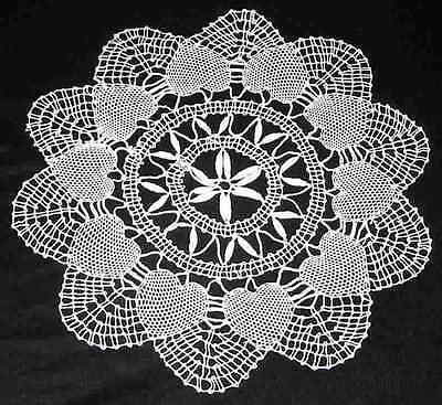 HEART Pattern WHITE CLUNY LACE Style PAIR 10 in  DOILIES 2 Doilies