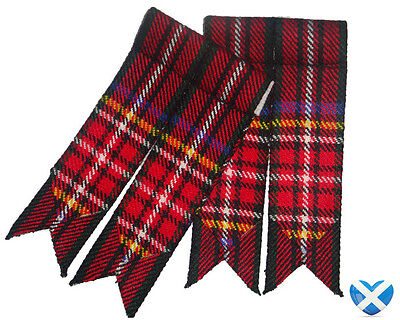Tartan Sock Flashers NEW - Royal Stewart & Black Stewart - Durable Acrylic Wool