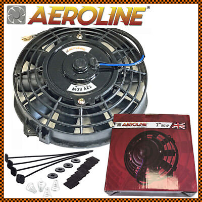 "7"" Aeroline® Electric Radiator / Intercooler 12v Slim Cooling Fan + Fitting Kit"