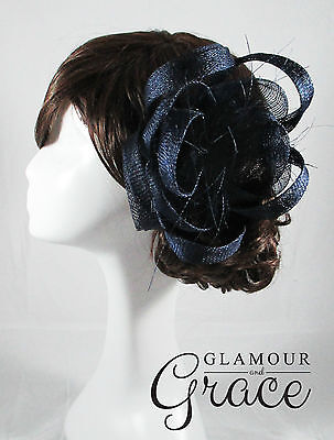 Charlie navy blue fascinator headpiece hat wedding bridal races Melbourne Cup