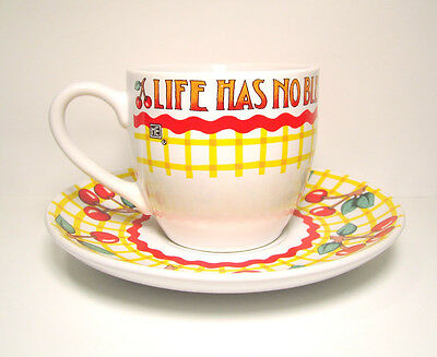 MARY ENGELBREIT TEA CUP AND SAUCER LIFE HAS NO BLESSING / YELLOW CHECK CHERRIES