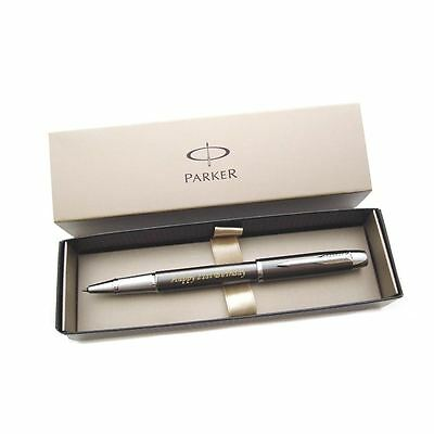 Personalised Engraved Parker IM Rollerball Pen - Gun Metal with Chrome Trim - Gr
