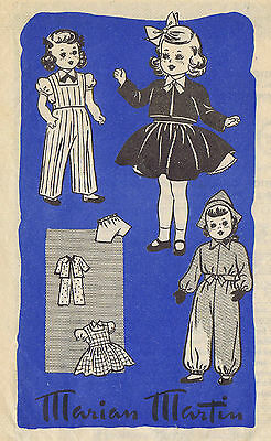 """9186 Vintage Marian Martin WWII Chubby Doll Pattern - Size 18"""" - 1941 WWII"""