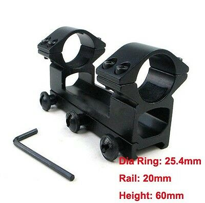 High Profile One Piece 1inch 25.4mm Ring 20mm Rail See Through Rifle Scope Mount