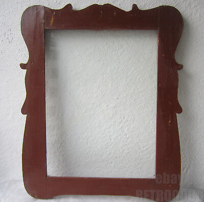 """19 thC  19"""" early antique primitive wooden frame w old blue paint, painted"""