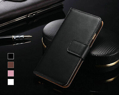 Genuine Real Leather Wallet Case Flip Cover for Various Apple iPhone Models