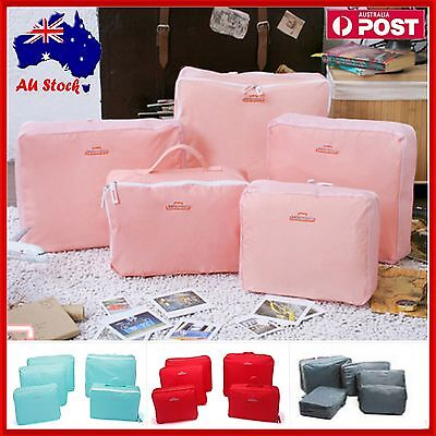 Set of 5 Travel Bag Organiser Toiletry Clothes Case Tidy Bags Suitcase Luggage
