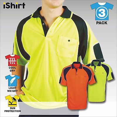 3 X Hi Vis Polo Work Shirt Cool Dry Breathable Side Panel Safety Workwear S/S