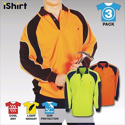 3 X Hi Vis Polo Work Shirt Cool Dry Breathable Side Panel Safety Workwear L/S