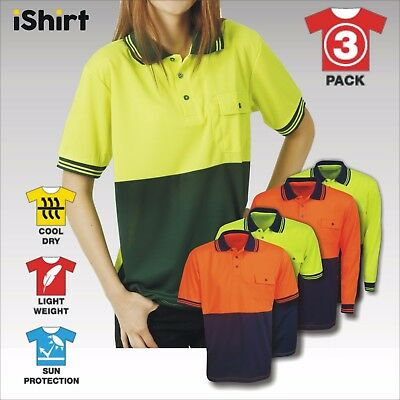 3 X Hi Vis Polo Shirt Cool Dry Breathable Safety Workwear Short Sleeve