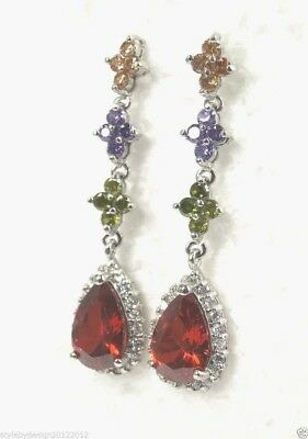 E+0812 Handcrafted Multi-Gemstone ladies Drop-Down style earrings sterling (sp)