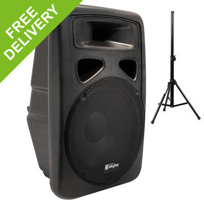 """Skytec 12"""" Portable Active Powered DJ PA Party Speaker + Stand Disco System 600W"""