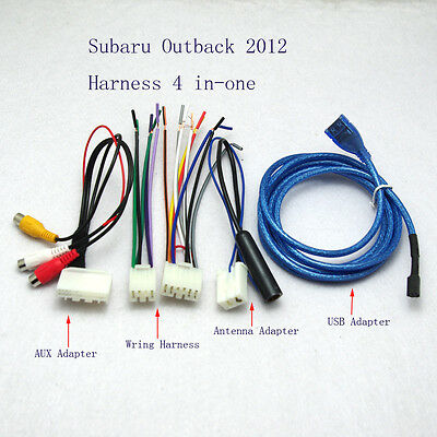 USB AUX Antenna Adapter Cable CD Harness Cable For Car Radio Subaru Outback 2012