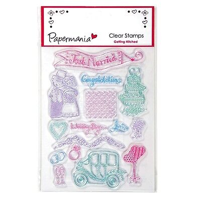 Papermania Getting Hitched Clear Wedding Stamps Set Of 6 Just Married - New