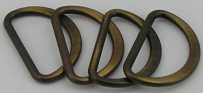 8 D-Rings flat-round old brass 25mm (31x21mm) rust-free 08.66