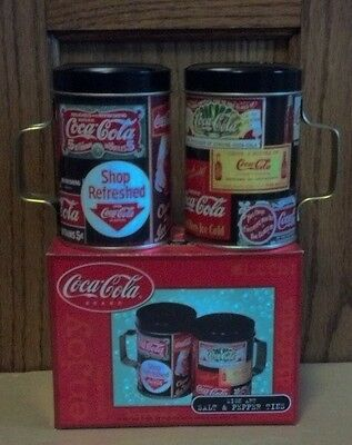 COCA-COLA METAL TIN Salt & Peppers One Set New Old Stock 2001