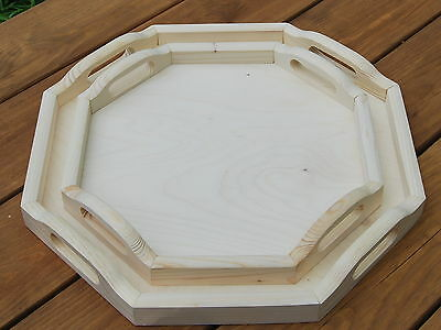 Set of Two Different Wooden Serving Trays Octagonal for Decoupage