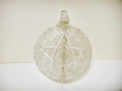 Cut Crystal Nappy Handled Divided Star Candy/Nut Dish