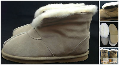 100% Sheepskin MOCCASINS Slippers Winter Shoes Genuine Slip On Size 6-10 New