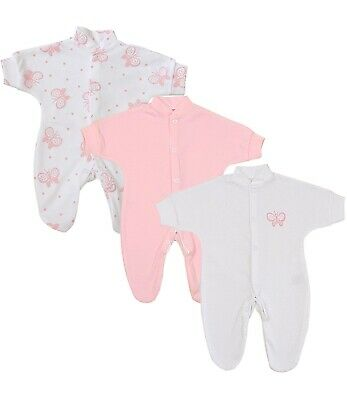 BabyPrem Premature Preemie Baby Girls Clothes 3 Pack Sleepsuits Babygrow Sleeper